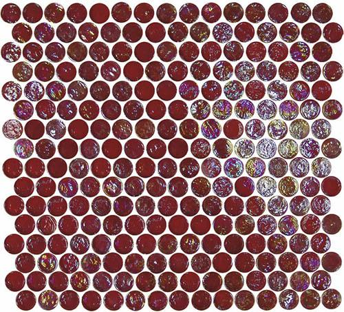 Geo Glass Circle Red Mosaic Tile